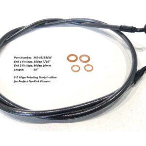 58″ E-Z Align Front Brake Line with 7/16″ x 35 Degree Banjo – Black Pearl.